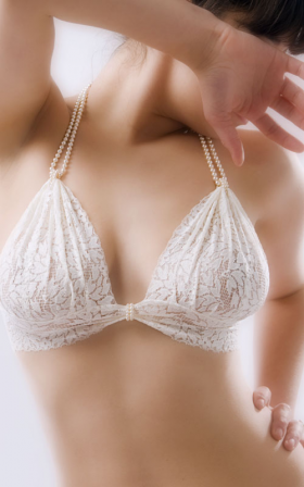 A pearl-embellished bra style by Bracli.