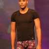 "Hot Impetus: ""Disco"" print boxer and black t-shirt."