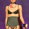Valery: Green silk with black lace bra and waist cincher thong.