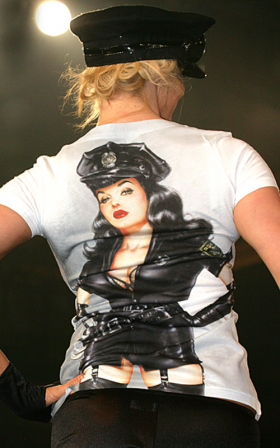 Shirley of Hollywood: The Fuzz T-shirt in Olivia line.