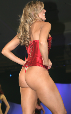 OSexy: Red corset with rhinestone accents.