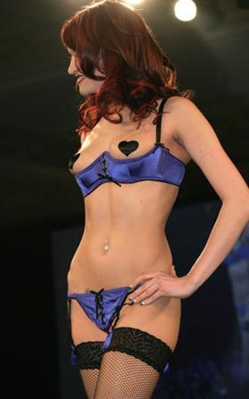 OSexy: Electric blue satin shelf bra with thong set.