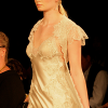 Champagne long gown with Chantilly lace and chiffon robe (front view).