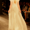 Champagne long gown with Chantilly lace and chiffon robe (rear view).