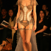 Taupe/silver bustier and panty with long bustle skirt (front view).