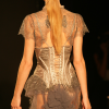 Taupe/silver bustier and panty with long bustle skirt (rear view).