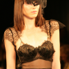 Black chiffon long gown with Chantilly lace shrug (front view).