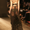 Black chiffon long gown with Chantilly lace shrug (rear view).
