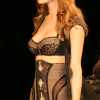 Taupe bra,corselet & panty with long black robe (front view).