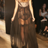 Taupe bra,corselet & panty with long black robe (rear view).
