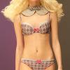 Sassa: Geometric printed bra and string.