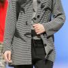 Massana: Black and gray reversible striped pajamas with jacket.