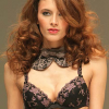 Conturelle: Black and purple bra and string.