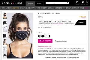 Playboy face mask for sale on Yandy.com.