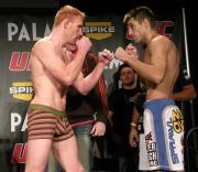 Left to right: Mark Bocek in Unico underwear with opponent Joe Brammer.