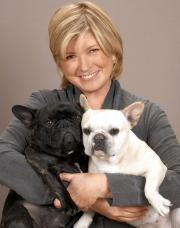 Martha Stewart with her French bulldogs Francesca and Sharkey.