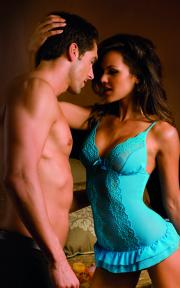 CJ (on right in blue) on the cover of Dreamgirl's spring 2011 lingerie catalog.