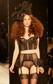 Black cotton bra and panty with tulle cover-up.