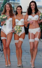 Models show off Marks & Spencer's new bridal lingerie collection.