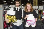Eli Smith and Meggan Cole-Sisto with the new underwear.