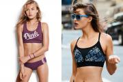 Two of the new Pink active bras, a focus for the brand in October.