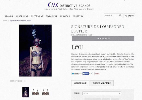 An ordering page for Lou Lingerie on the CMK site.