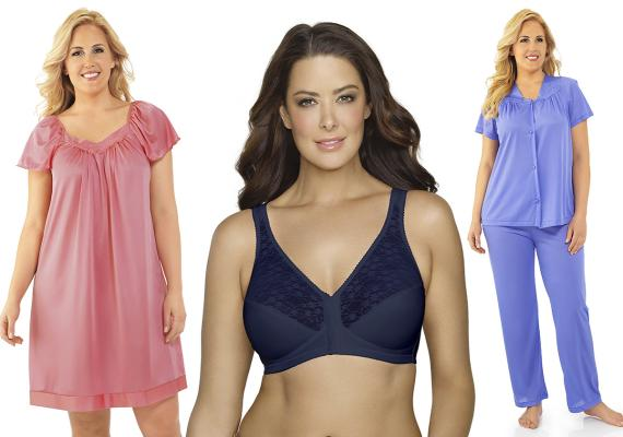 Examples of the new Exquisite Form sleepwear, and one of the colorful new Exqusite Form bras.