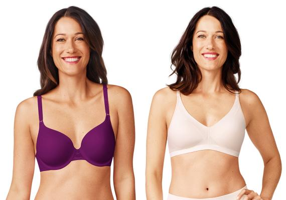 Warner's Cloud 9 Underwire Contour w/ Lace Back, and Warner's Easy Does It Wire-Free with Lift bra.