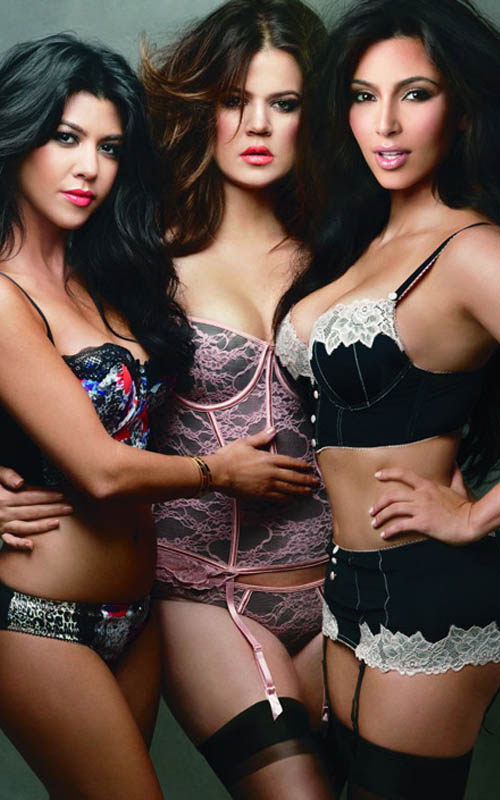 Kourtney, Khloe and Kim Kardashian model Kardashian Kollection intimates.