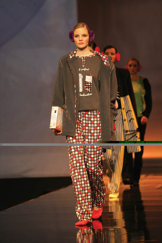 Massana: Charcoal gray polka dots pajamas with matching jacket.