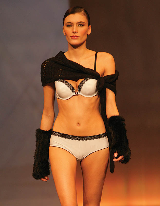 Bruno Banani: Black and white striped brief and bra.