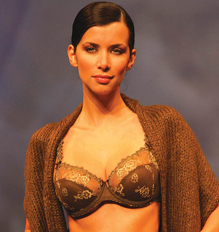 Conturelle: Brown embroidered brief and bra.
