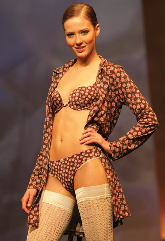 Cheek by Lisca: Brown polka dotted brief and bra with matching jacket.