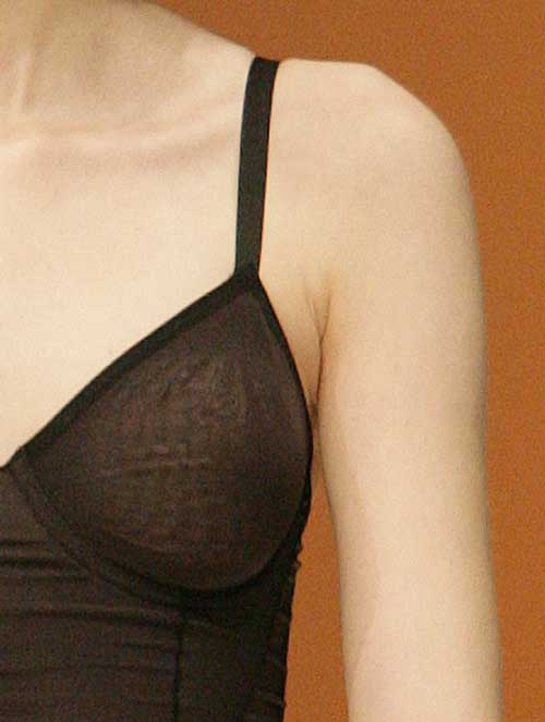 Body Wrap: Black top in Sheer Iridesscent line.