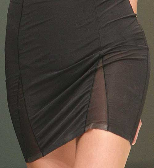 Body Wrap: Bottom of black dress in Sheer Iridesscent line.