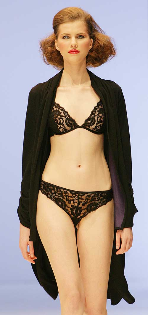 Hanro: Black Cardigan, bra and bottom.