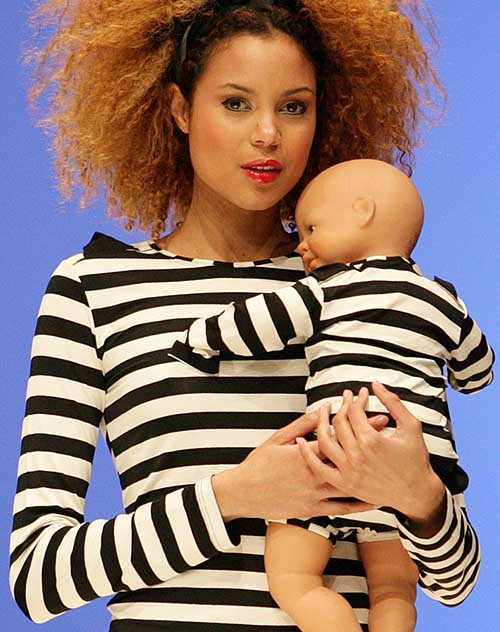 Jour Apres Luna: Coordinating black and ecru striped over blouse and brief for mom and baby.