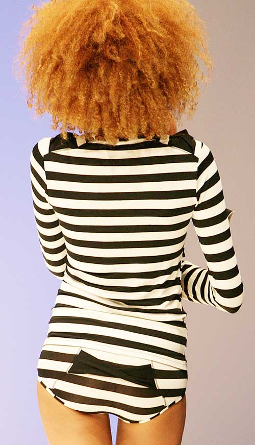 Jour Apres Luna: Back of black and ecru striped over blouse and brief for mom.