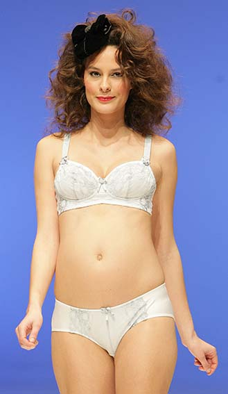 Cake Lingerie: White and blue breast-feeding bra and suspender brief.