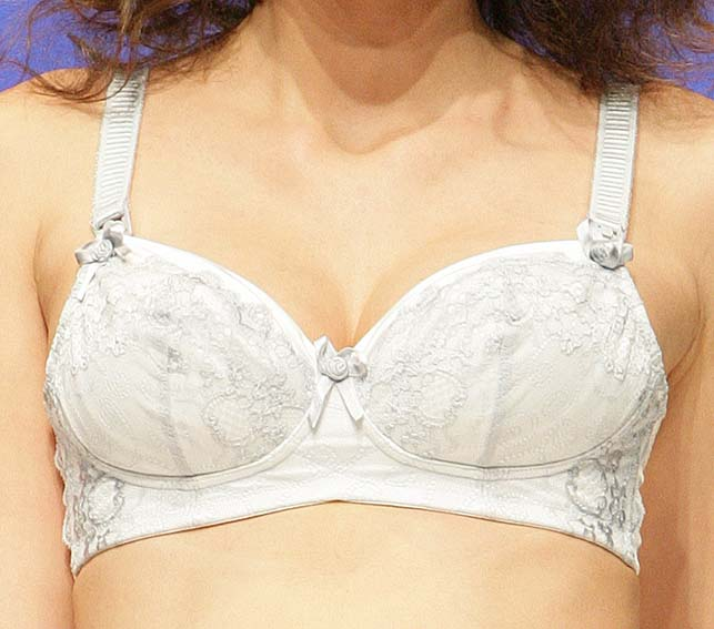 Cake Lingerie: White and blue breast-feeding bra.