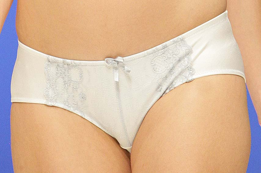 Cake Lingerie: White and blue suspender brief.