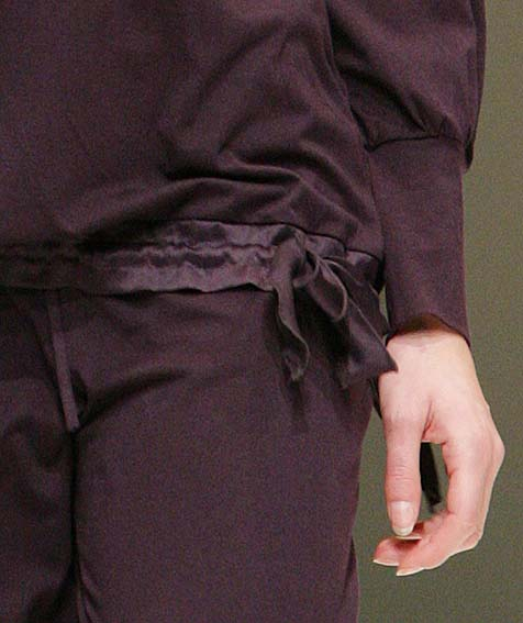 Cyell: Dark purple pajama bottom.