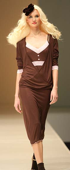 cotonella: Brown and pink nightdress and cardigan.