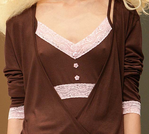 cotonella: Brown and pink nightdress top and cardigan.