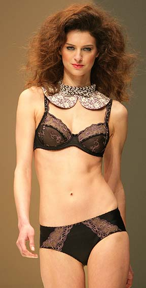 Conturelle: Black and purple bra and brief.