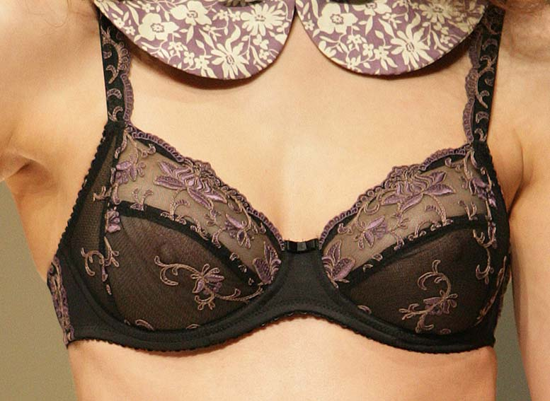 Conturelle: Black and purple bra.