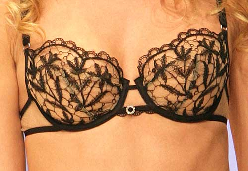 Lisca: Black and nude bra.