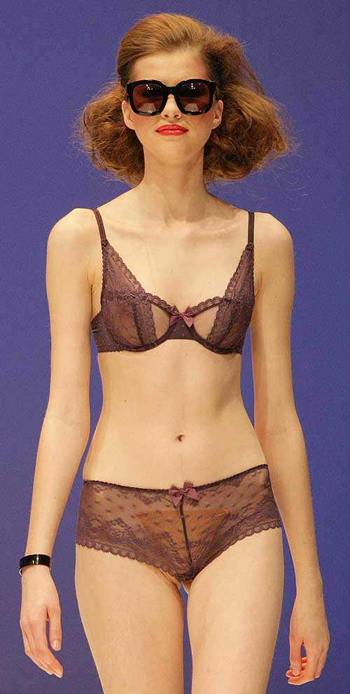 Passionata: Purple bra and tanga.