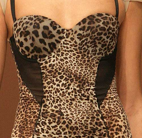Sheer Iridesscent by Body Wrap: Printed panther dress.