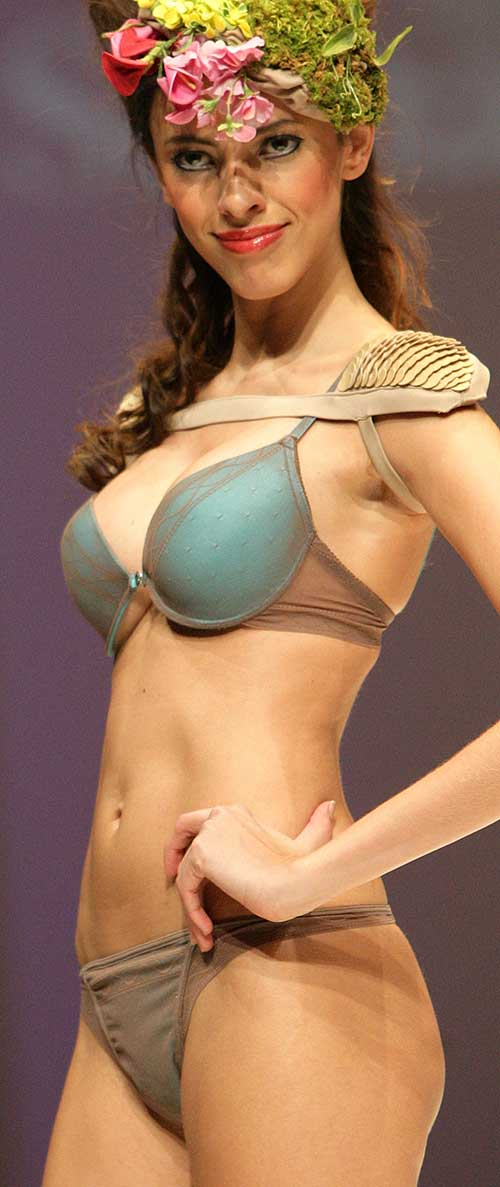 Selmark: Turquoise bra and string.